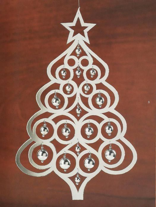 Christmas decorations made ​​of paper, cardboard, foil, sequins, beads