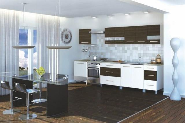 Fande - 260 cm széles konyhablokk.  Ellentétek vonzásában - modern megjelenést kölcsönöz a konyhának a fehér és a venge színek kontrasztja. http://www.knapp.hu/