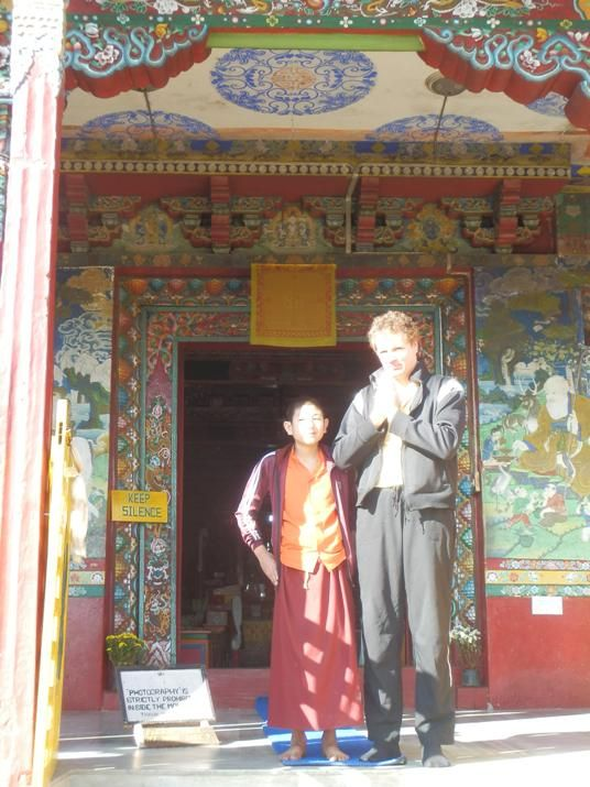 Pemayangtse Monastery in Sikkim, India. Terry Hodgkinson with Young Monk concluding ceremony. http://www.TaoJourneys.com