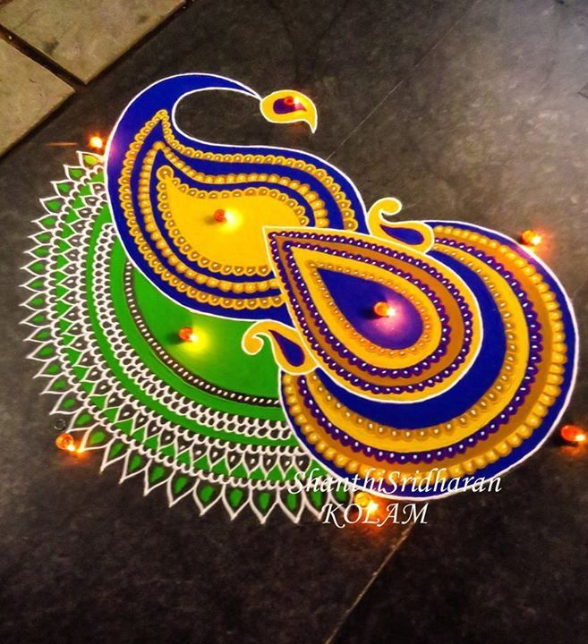 #kolam#paisley#rangoli#yellow#blue#green                                                                                                                                                                                 More