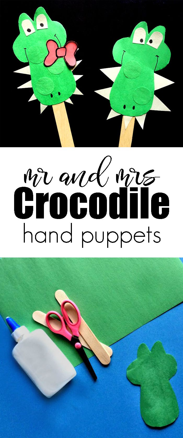 Mr. and Mrs. Crocodile Hand Puppets - An Easy Craft For Kids