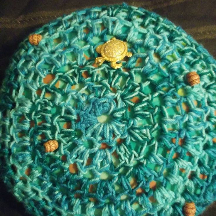 Gorgeous beach inspired pillow with vintage gold turtle. Love it! https://www.etsy.com/listing/602239665/vintage-handmade-crochet-pillow