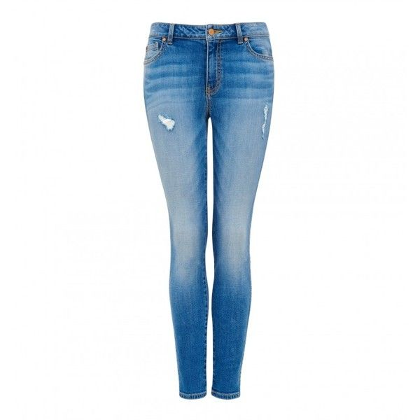 Poppy Mid Rise Ankle Grazer Jean ($23) ❤ liked on Polyvore featuring jeans, white jeans, white skinny jeans, ripped jeans, mid rise skinny jeans and distressed jeans