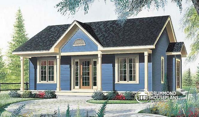 W4127 one story low budget house plan 2 bedrooms eat for 2 bedroom house plans with garage and basement