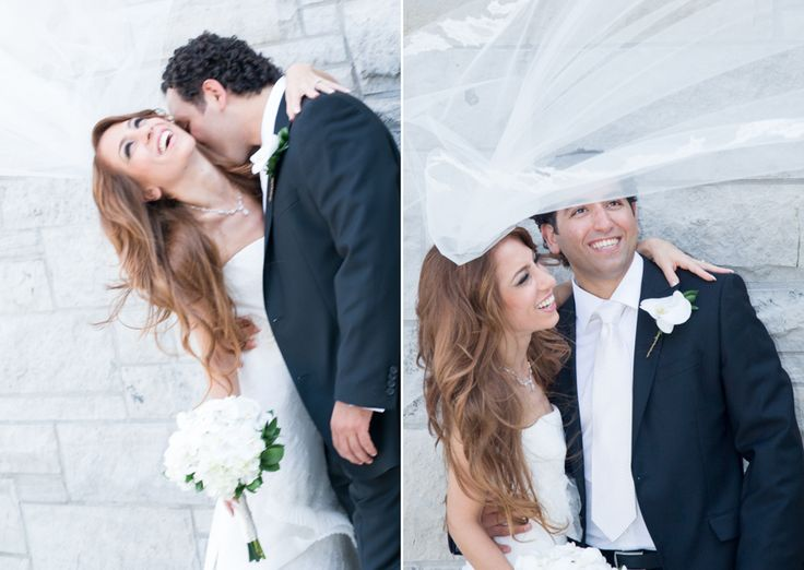 Copper Creek bride and groom fun with veil