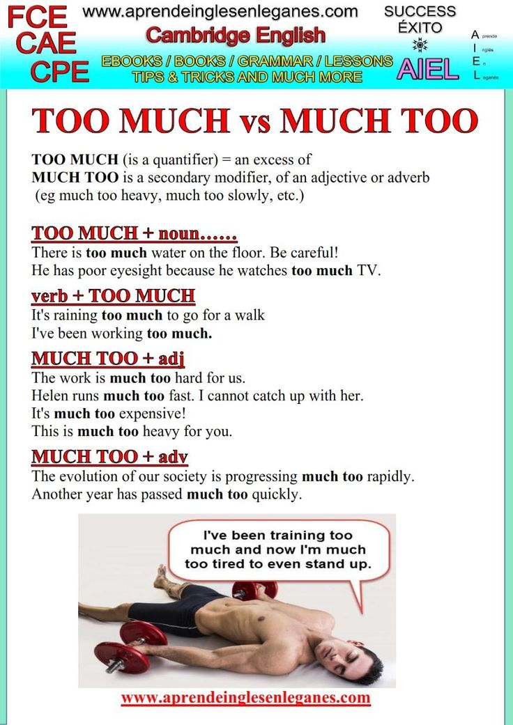 """What's the difference between """"TOO MUCH"""" and """"MUCH TOO"""" ? When should we use one or the other? Have a look at the grammar sheet below to find out."""