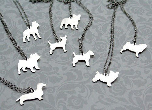 Mooshy Gooshies custom dog silhouette jewelry (jewelry maker Lucia Hamilton can even create a silhouette of your dog from a photograph!) Check out her Etsy shop: http://www.etsy.com/shop/mooshygooshies