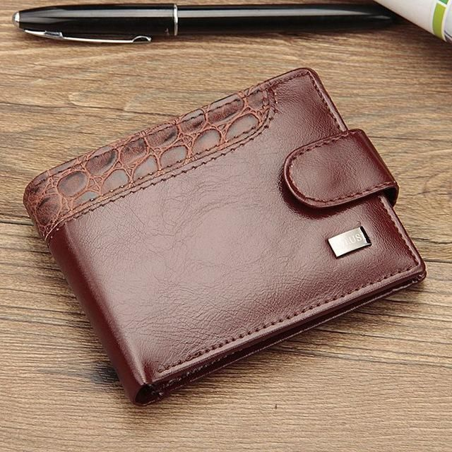 Fashion PU Leather Men Magnetic Hasp Wallet Luxury Money Coin Transverse Purse Card Holder Pocket Clutch Male Pouch Bag Carteras