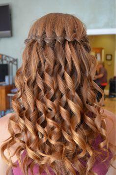Waterfall braid with curled hair!                                                                                                                                                                                 how cute !!!!