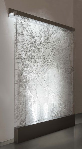 Hwang Ran -SECRET OBSESSION, 2013 CRYSTAL AND PINS ON PLEXIGLAS PANEL 222 X 190 CM