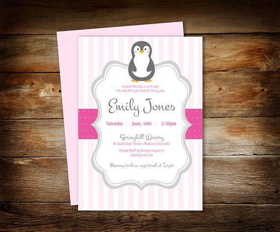 Pingüino bebé ducha  pingüino ducha invitación  bebé ducha