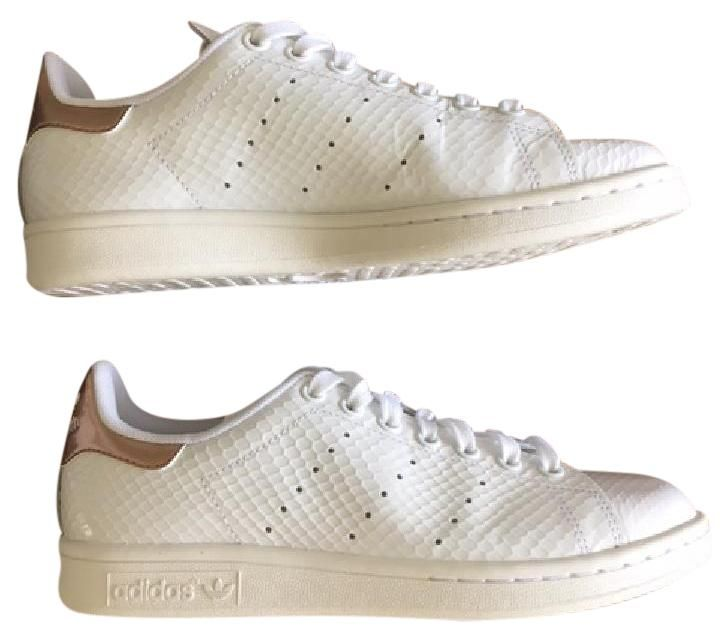 Adidas Stan Smith White And Copper sneakers. Rare glossy embossed upper. Just listed on Tradesy!