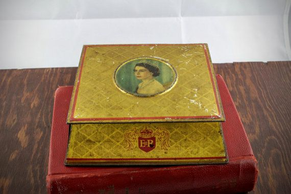 Vintage Coronation Tin for Queen Elizabeth II in by LoAndCoVintage