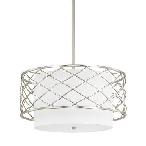 capital lighting fixture company sawyer brushed nickel threelight pendant - Drum Pendant Lighting