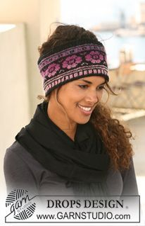 """DROPS head band with pattern in """"Delight"""" and """"Fabel"""". ~ DROPS Design"""