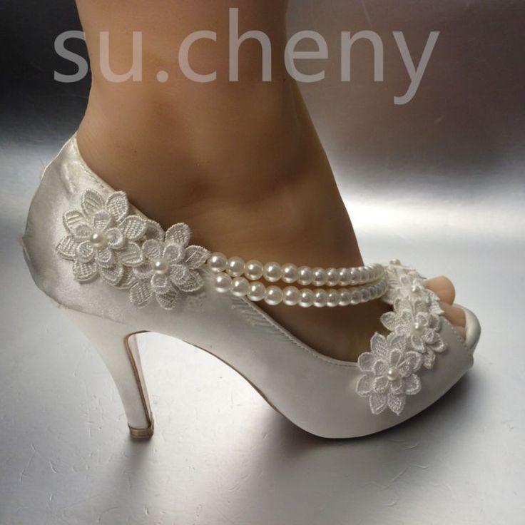 8/10 cm talón Pearl Blanco Marfil De Seda Encaje puntera abierta Boda Zapatos De Novia Talla 5-9.5