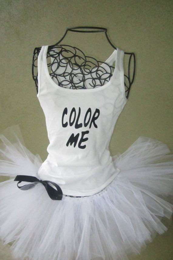 Running Tutu: Color Run Inspired Custom Racing Tank and Pixie Length (9 inch) Tutu on Etsy, $54.95