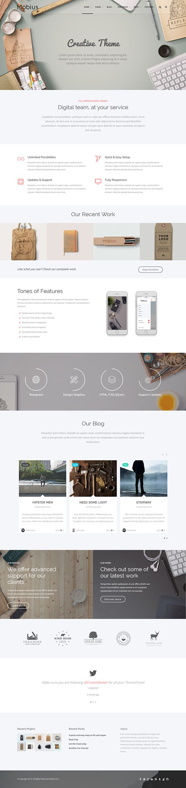 Mobius is a multipurpose, clean, retina ready and fully responsive WordPress Theme. It is suited for any kind of website such as business and corporate sites, e-shops, agencies, creative portfolio, blog and photograph sites.