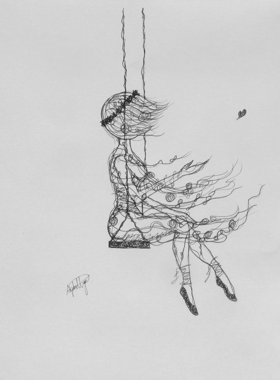 Whimsical Pencil Illustration of Girl on a Swing by ...