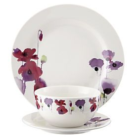 by Sainsbury's Watercolour Poppy 12-piece Dinner Set