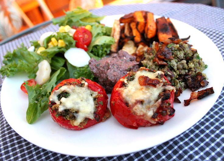 Oppskrift Gratinerte Tomater Linser Quinoa Vegansk Vegetar
