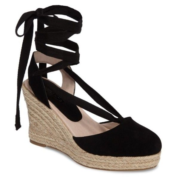 Women's Topshop Waves Espadrille Wedge ($68) ❤ liked on Polyvore featuring shoes, sandals, black, ballet shoes, espadrille wedge sandals, black wedge espadrilles, black shoes and wedge heel sandals