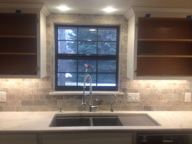 3x6 Travertine Window Wrap Window Is Picture Framed With