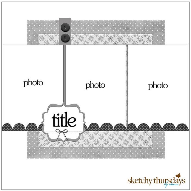 .  3 photo  - remove title embellishment and write across bottom page, widen and extend vertical strip