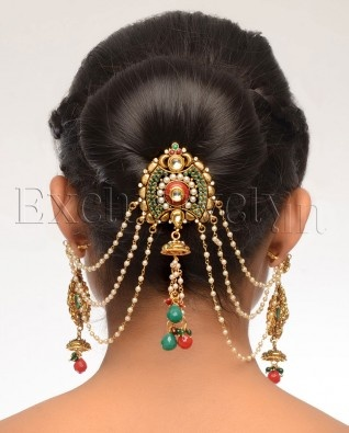 Multi-Stone Hair Pin With Earrings