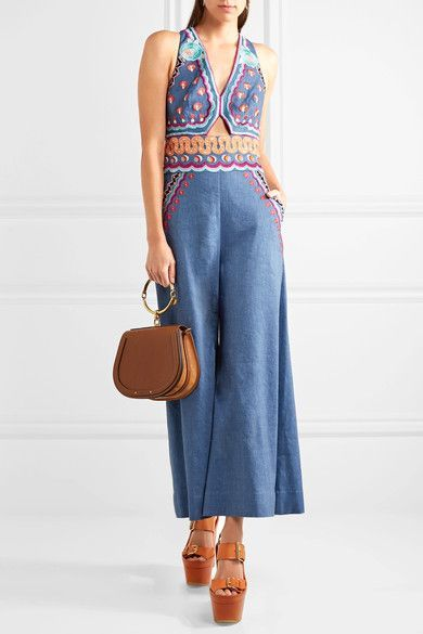Temperley London - Spellbound Embroidered Linen-blend Chambray Jumpsuit - Blue - UK