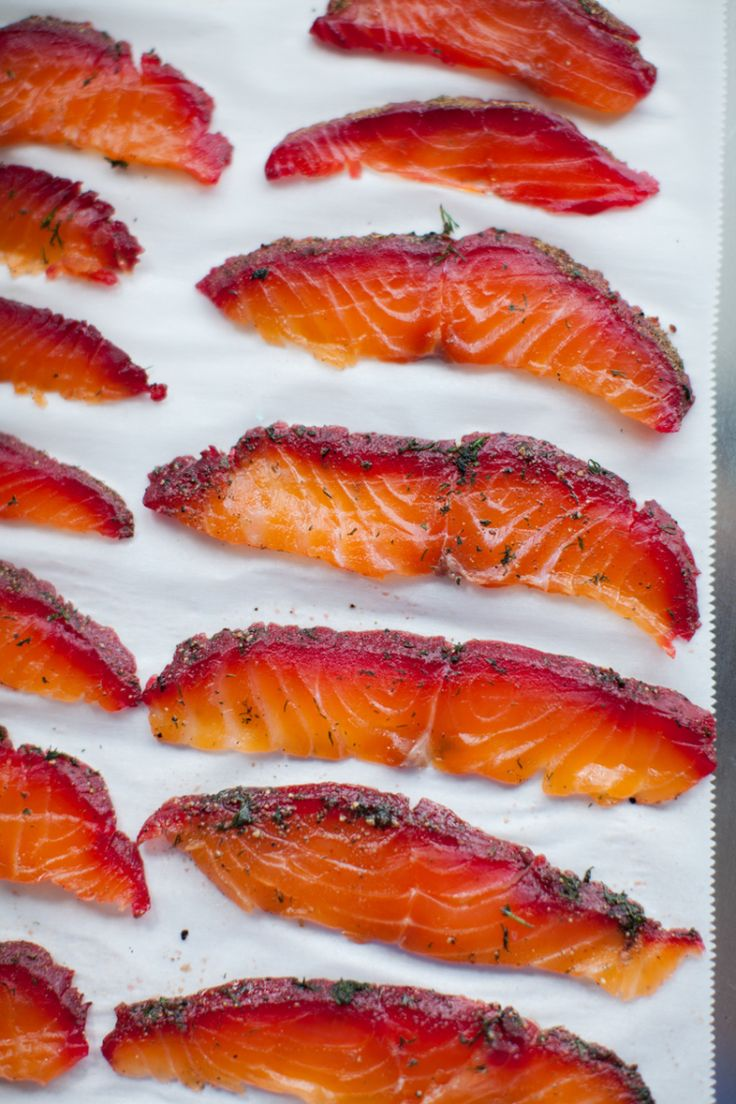 beetroot + peppercorn spiced cured salmon.