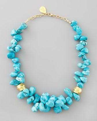 Turquoise Cluster Beaded Necklace by Devon Leigh at Neiman Marcus. Hmmm...I could probably DIY this.