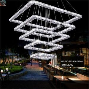 Square Crystal LED Ceiling Light Fixture 5 Squares