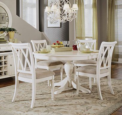 american drew camden round pedestal dining table white this thoroughly charming round dining table extends with an butterfly leaf to accommodate larger - Round White Dining Table