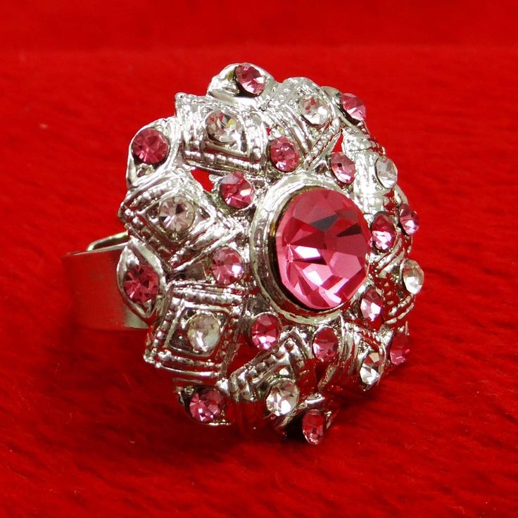 Silver plated Pink CZ Stone #Ring