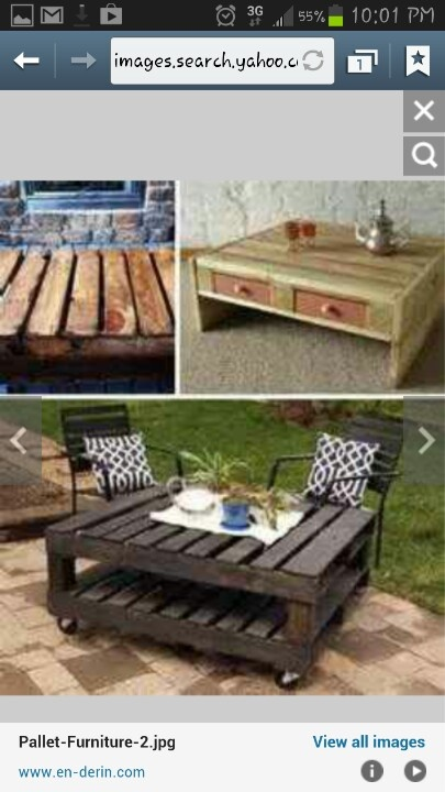 Pallet coffee table for outside. :)