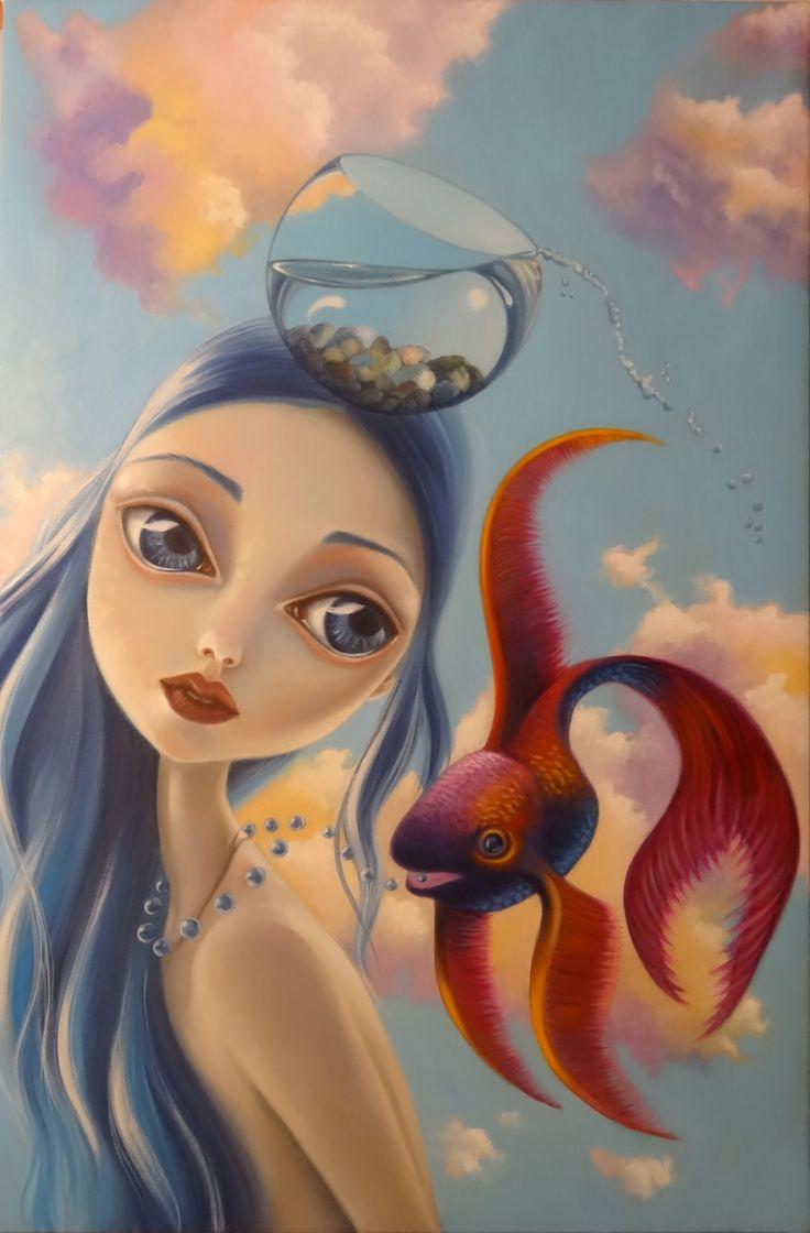 Qualche nube, poche gocce, oil on canvas cm 40 x 60