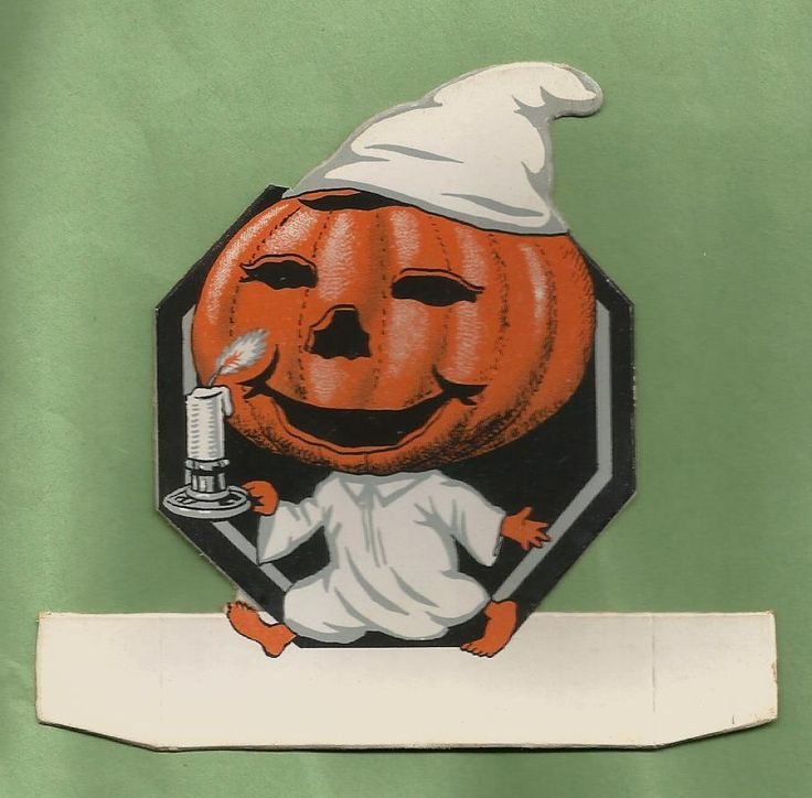 VINTAGE 1920's HALLOWEEN Jack O-Lantern Goblin w/ Candle, Party Place Card #MadeInSaxony #Party #Paper