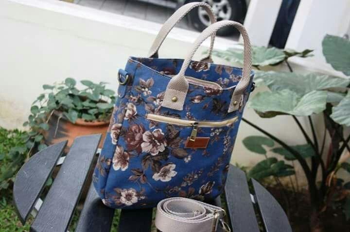 Crossbody bag by zaputni, lovely dark blue with flower motif..beautiful!
