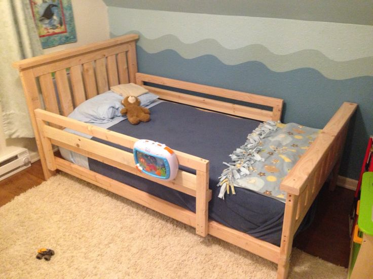 I Used Eight 8 Foot Boards And Two One Modification Made To The Bed Frame Plans Is Add A Toddler Rail Prevent Little Guy