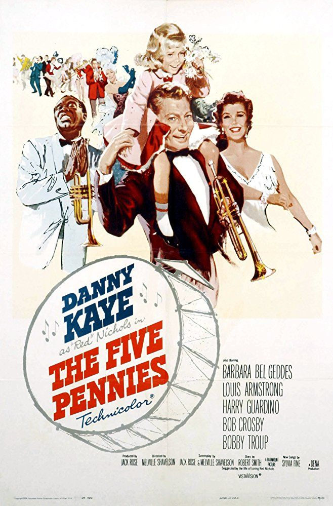 """Directed by Melville Shavelson. With Danny Kaye, Barbara Bel Geddes, Louis Armstrong, Harry Guardino. Loring """"Red"""" Nichols is a cornet-playing country boy who goes to New York in the 1920s full of musical ambition and principles. He gets a job playing in Wil Paradise's band, but quits to pursue his dream of playing Dixieland jazz. He forms the """"Five Pennies"""" which features his wife, Bobbie, as vocalist. At the peak of his fame, Red and Bobbie's daughter, Dorothy, ..."""