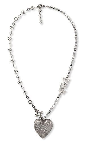 Single-Strand Necklace with Antiqued Silver-Finished Brass Focal, Swarovski Crystal and Hill Tribes Antiqued Silver-Plated Copper Beads