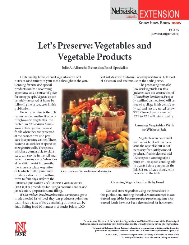 Let's Preserve: Vegetables and Vegetable Products #NebExt