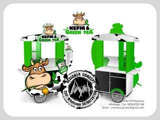 Desain Logo | Logo Kuliner |  Desain Gerobak | Jasa Desain dan Produksi Gerobak | Branding: Desain Gerobak Susu Kefir Green Tea