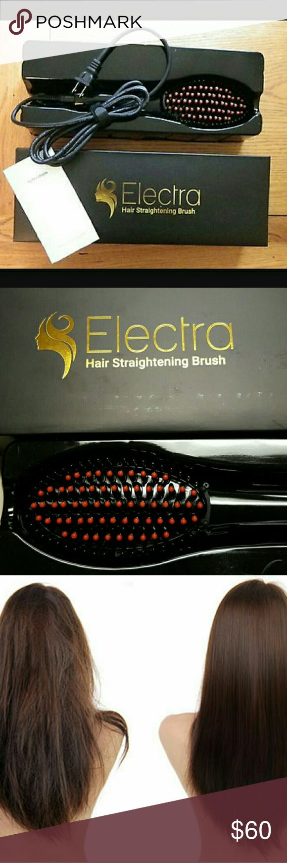 🎉NEW!🎉 Hair Brush Straightner The Electra Hair Brush is a combination between a hair brush and a hair straightener. It looks like a hairbrush with an electrical cord attached. Using advanced technology, it claims to straighten and style your hair with less heat damage than conventional straighteners.  There?s even an LED screen to let you customize your settings so you get the perfect hairdo every time.  The brush is priced at around $100 per unit.   New in box with instructions! Electra…
