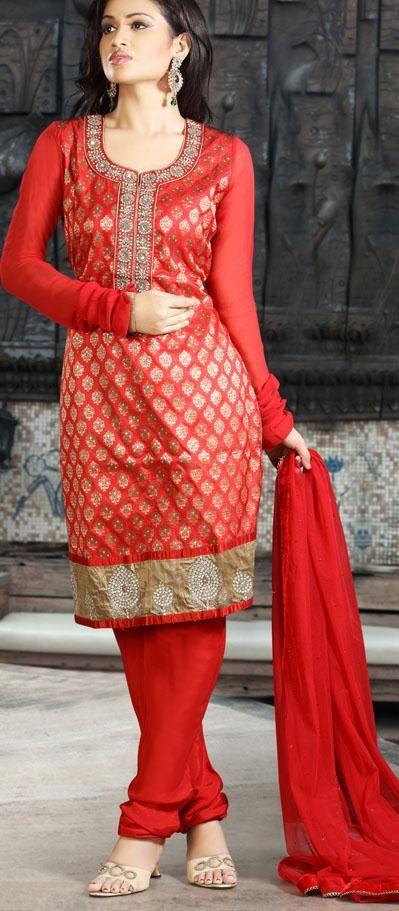 $163.72 Red Full Sleeve Brocade Knee Length Churidar Suit 19570