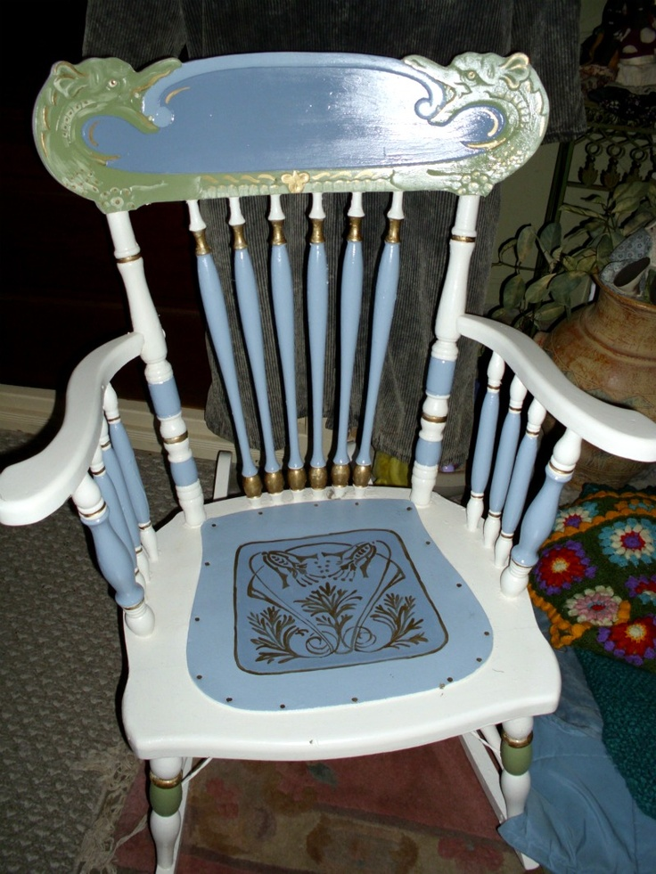 Antique Rocking Chair With Leather Seat - WoodWorking Projects & Plans