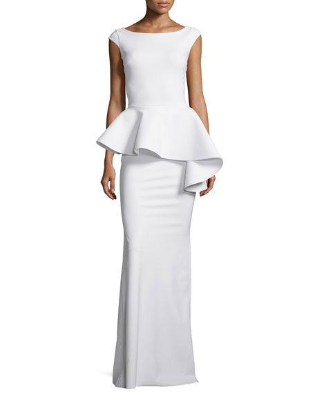 La Petite Robe di Chiara Boni Etheline Cap-Sleeve Peplum Column Gown, White