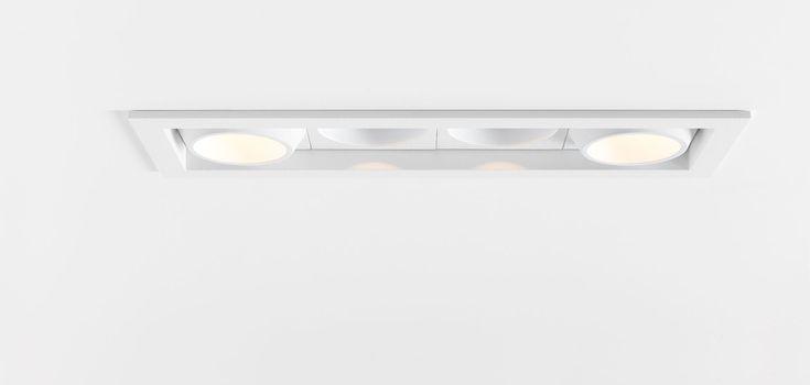 Modular Qbini ook mogelijk met zwarte lampen en wit frame voor een recessed lightning look te krijgen terwijl het toch opbouw is.  Prijs 85€ per lampje