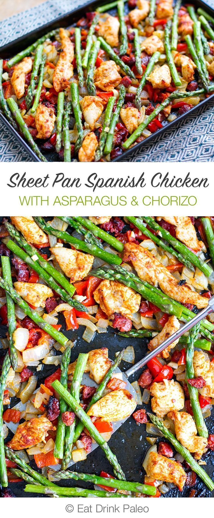 Sheet Pan Roasted Asparagus and Chicken With Chorizo